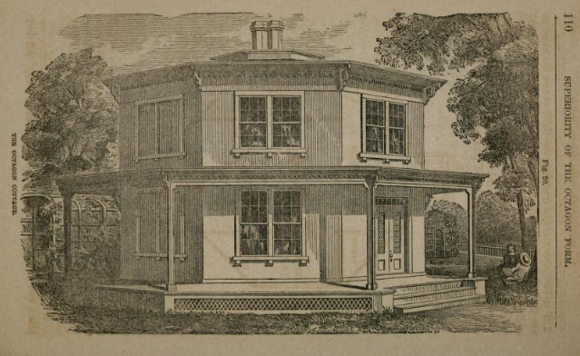 "Figure 20: ""The Octagon Cottage,"" from Orson Fowler,  A Home for All...,  1854"