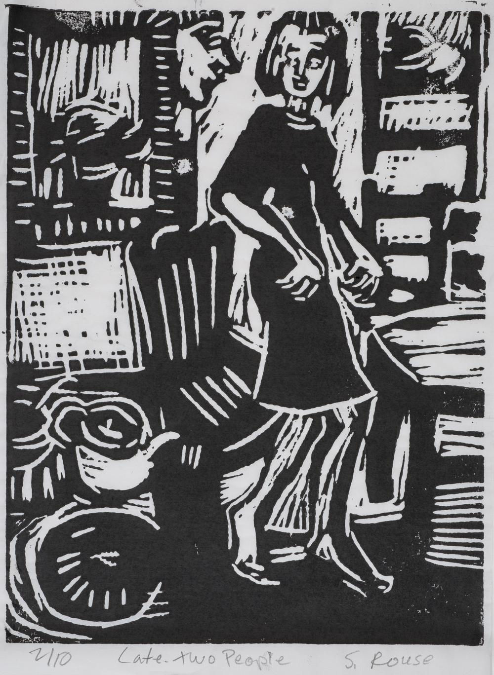 """Two People Late Kitchen"", Linoleum Cut, 13""x9"", 2015"