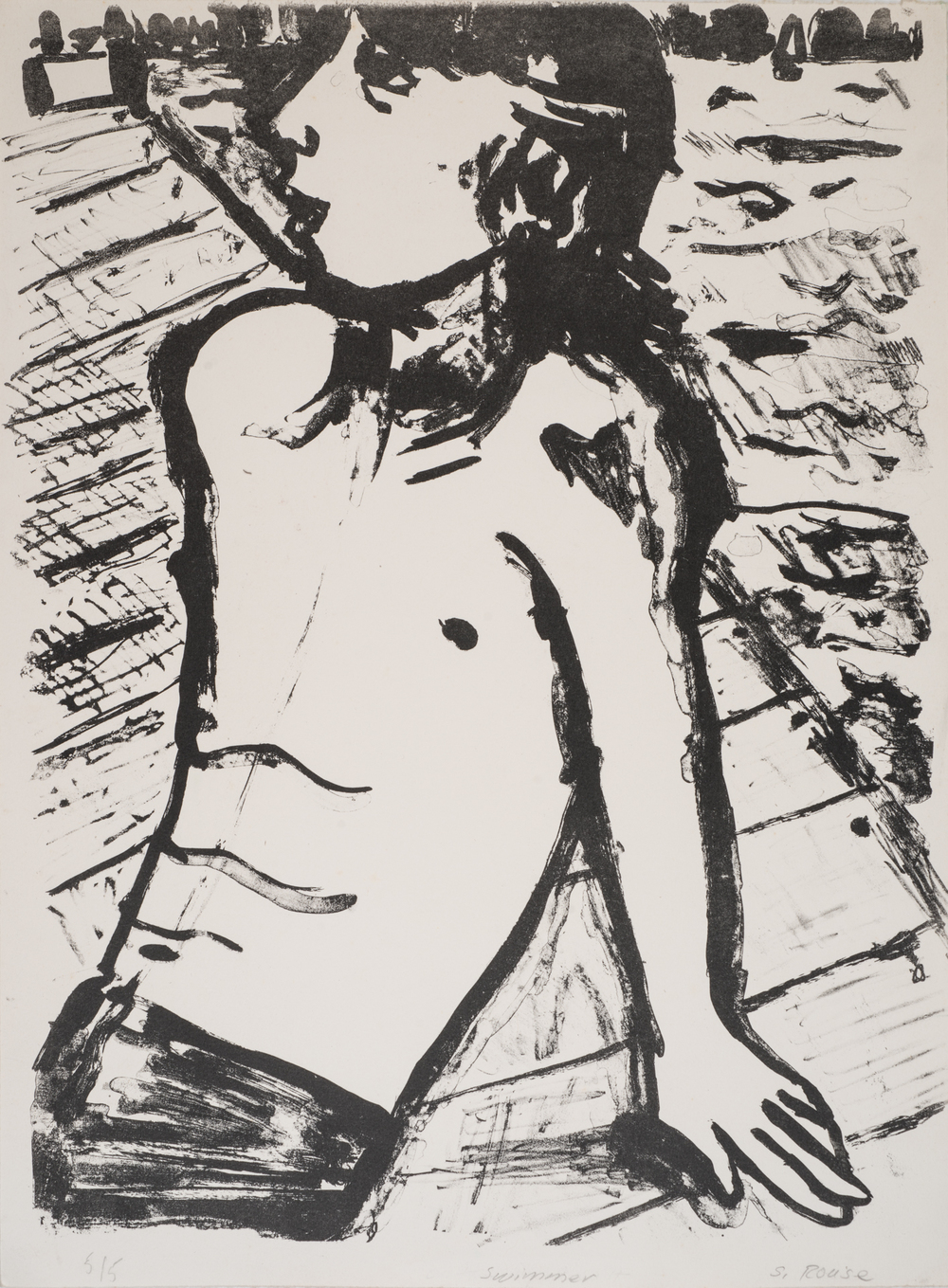"""""""Boy on the Pier"""", plate lithograph, 18""""x24"""", 1975"""