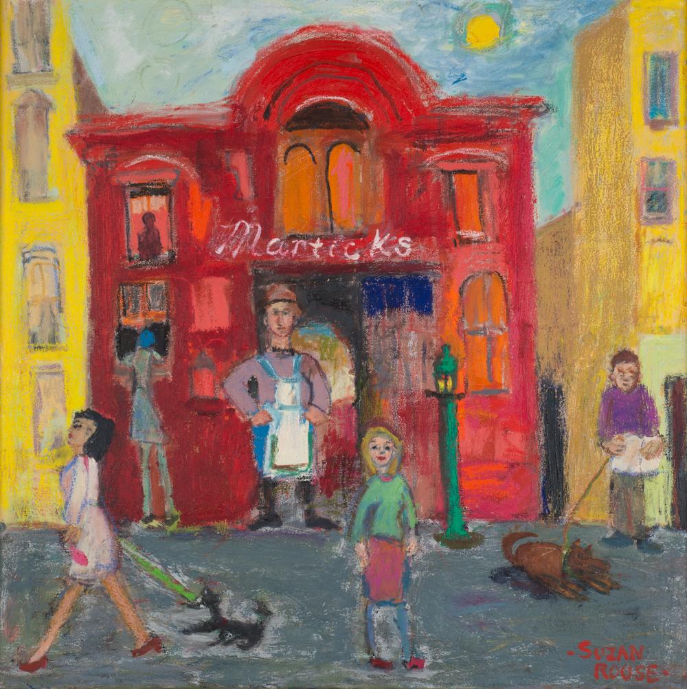 "Marticks (Fantasy) Restaurant, oil, 31""x31"", 2011"