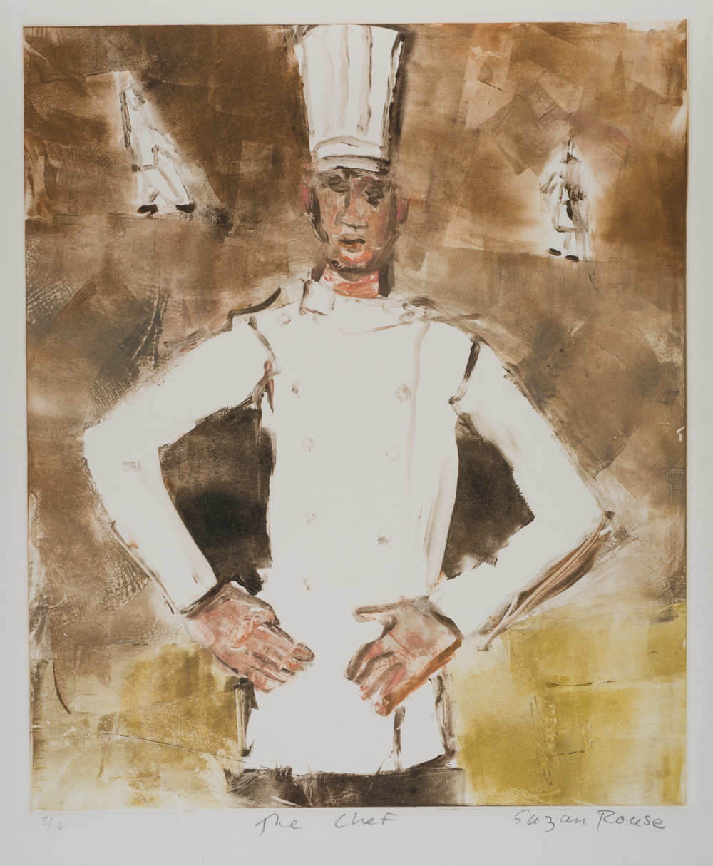 """""""The Chef"""", monoprint and oil, 26""""x20"""", 2015"""