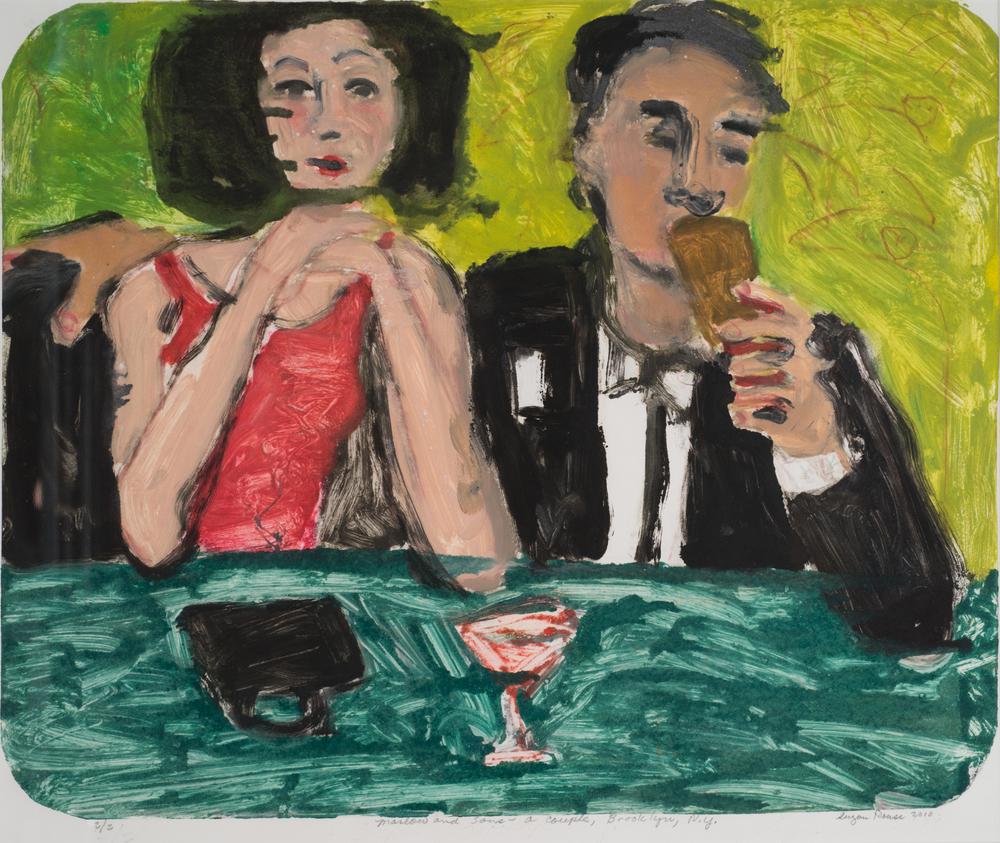 """Brooklyn, NY Couple, Williamsburg"", monoprint and oil, 24""x22"", 2011"