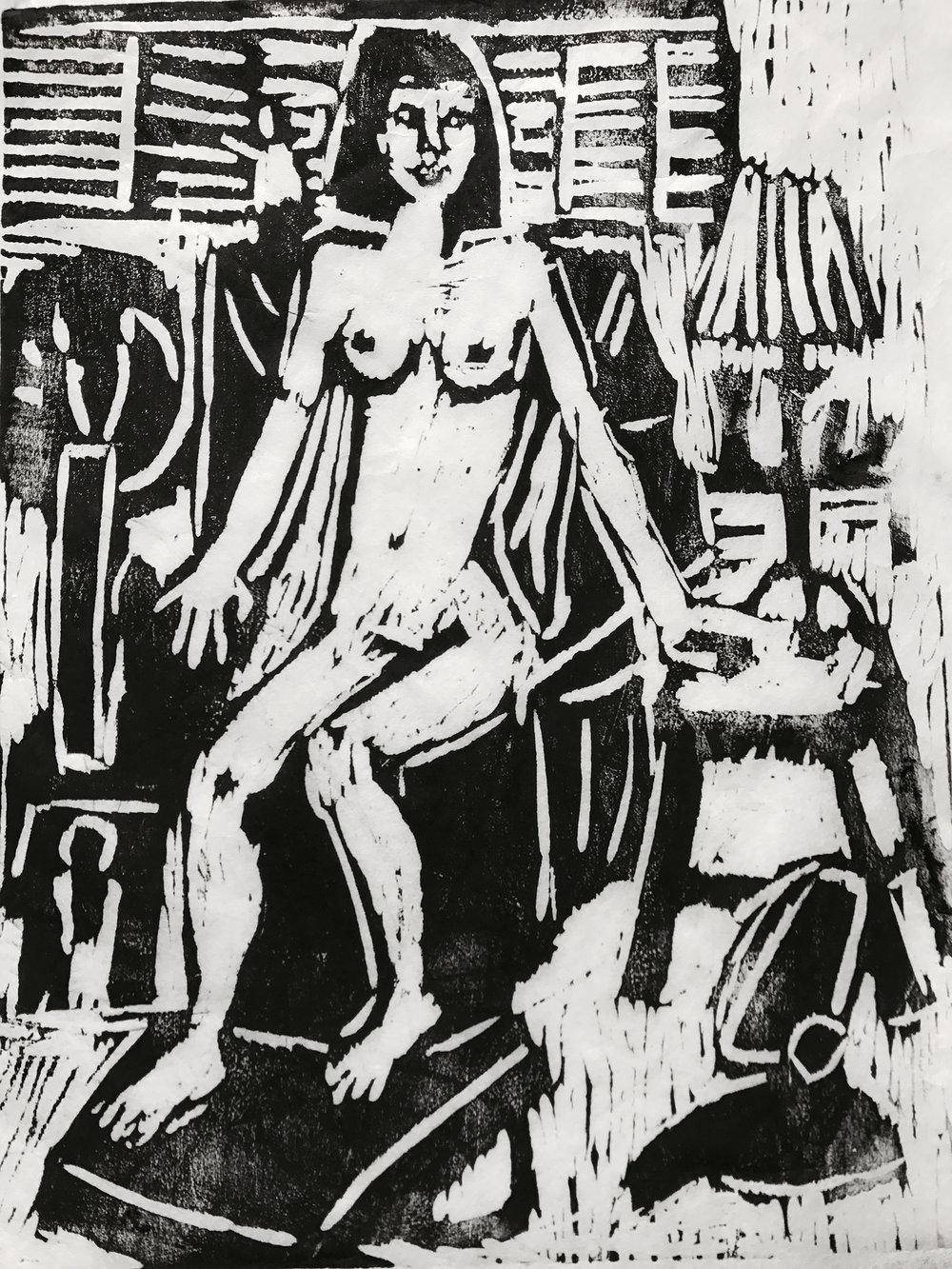 """Chauna"", linoleum block print, 16""x20"", 2018"