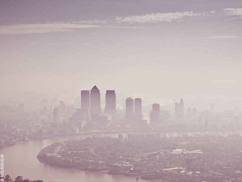 Goodyear Blimp Airship London Flight London Aerial Photography Hasselblad Jay McLaughlin Canary Wharf Pollution Mist Smog