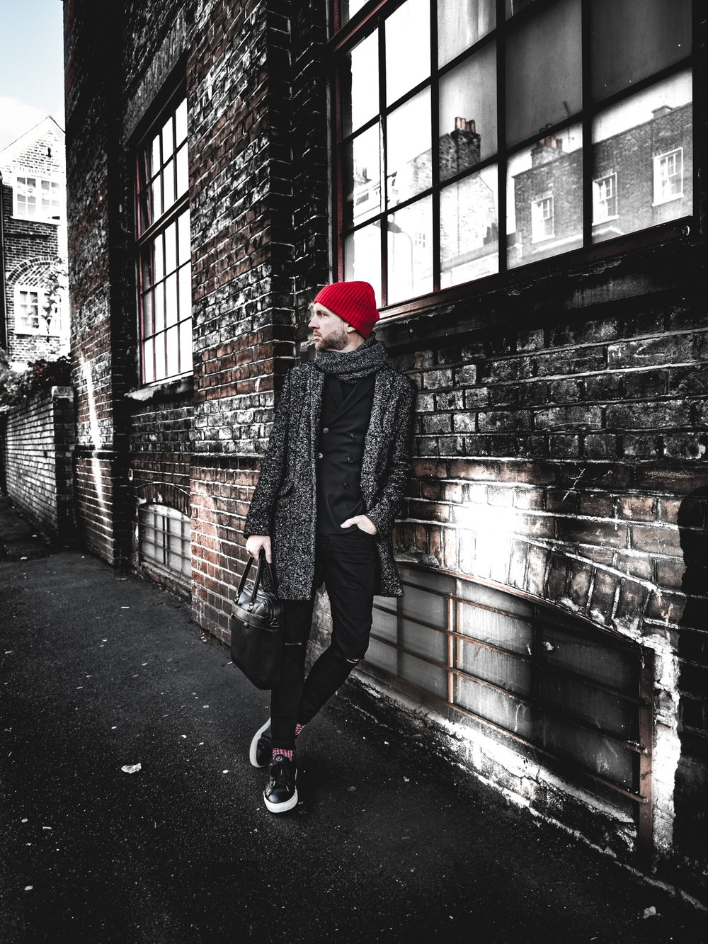 Jay McLaughlin Style OOTD OOTDMen Menswear Blogger Overcoat Beanie Black Red Colour Pop Seven Feet Apart Skinny Jeans Blazer Double Breasted