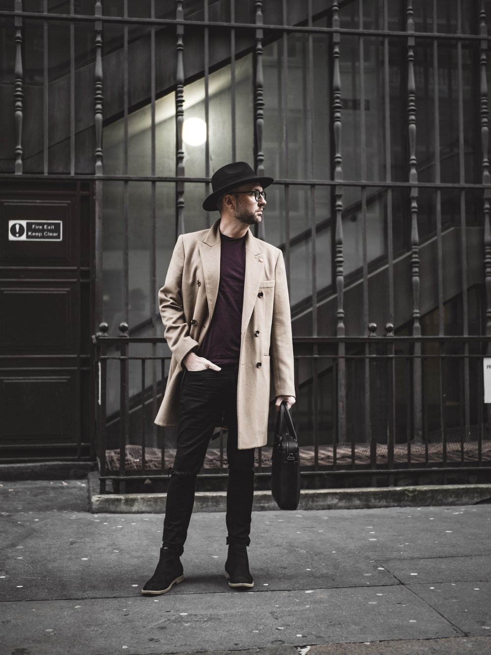 Jay McLaughlin Camel Coat Marks & Spencer Chelsea Boots Fedora Hat Briefcase Poppy Pin Remembrance Day Skinny Jeans Glasses Style OOTD OOTDMen Menswear Blogger