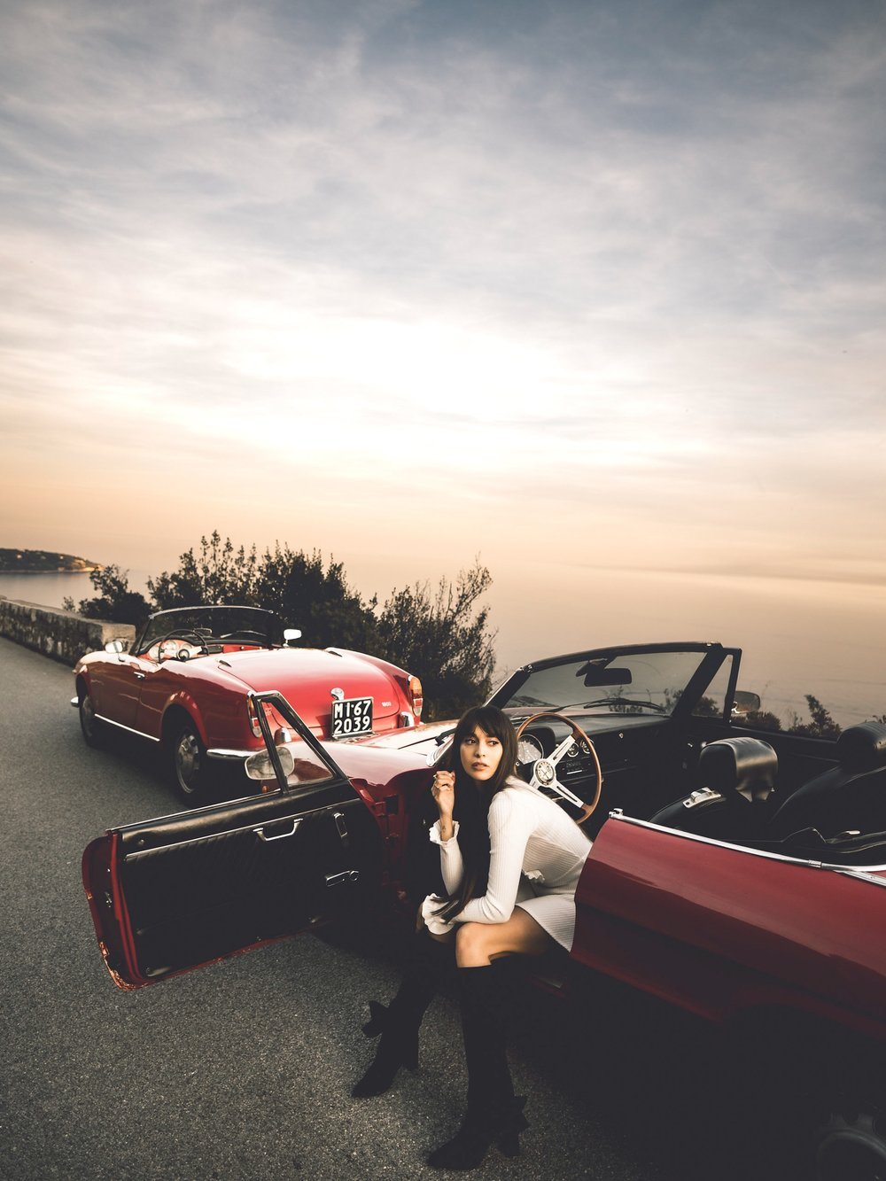Olympus PEN 12mm f/2.0 Lens Wide Angle Zara Martin Road Trip Monaco Monte Carlo Sunset Golden Hour Alfa Romeo Vintage Italian Sports Car Cars Sportscar Sportscars Passion Project