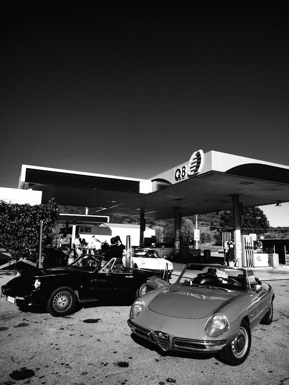 Olympus PEN 12mm f/2.0 Lens Wide Angle Road Trip Italy Alfa Romeo Vintage Italian Sports Cars Car Sportscar Sportscars Q8 Petrol Station