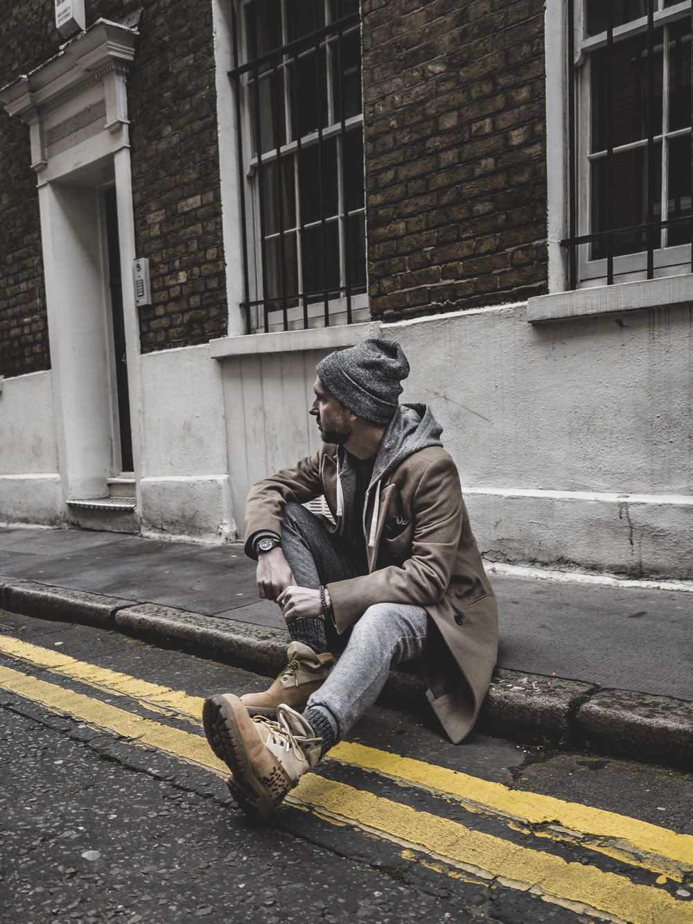 Jay McLaughlin OOTD OOTDMen Style Outfit Timberlands Camel Coat Beanie Joggers Sweatpants Menswear Street London Timex Marks & Spencer Beanie Stylonylon