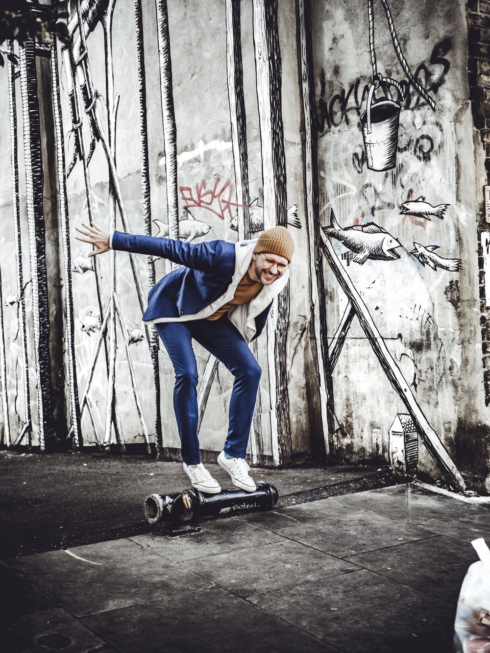 Jay McLaughlin Photographer Blue Suit Beanie Converse TopMan