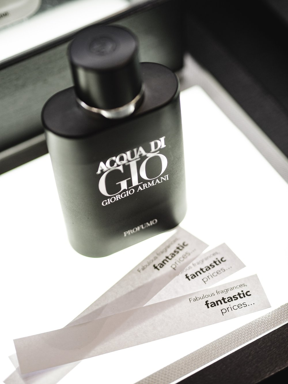 Heathrow Airport World Duty Free Fragrance Tester Testing Strips Strip Giorgio Armani Aqua Di Gio Profumo