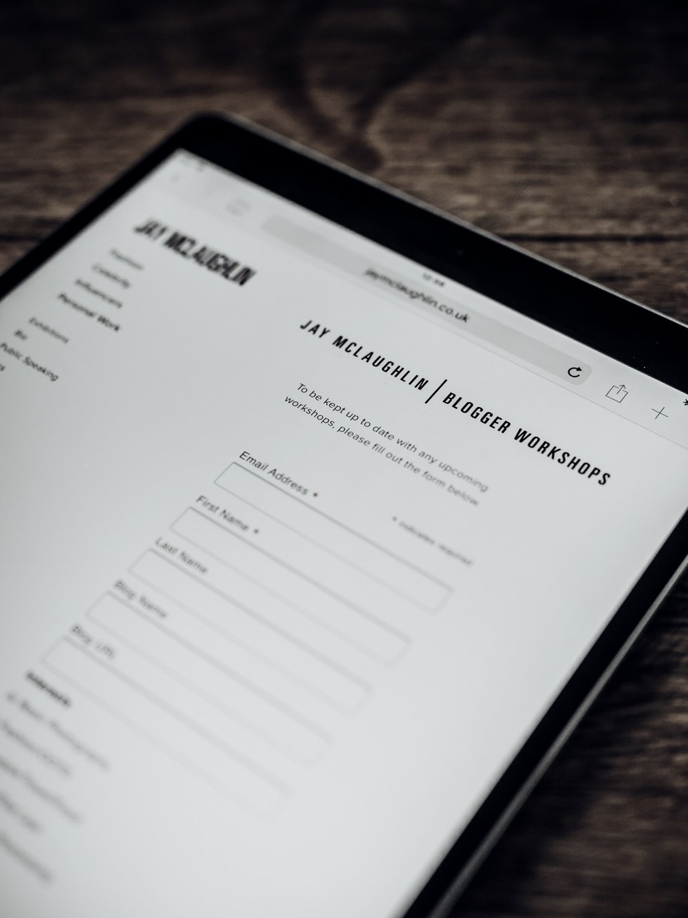 Blogger Workshop Workshops Olympus PEN Mailing List Sign Up Form iPad Apple Online