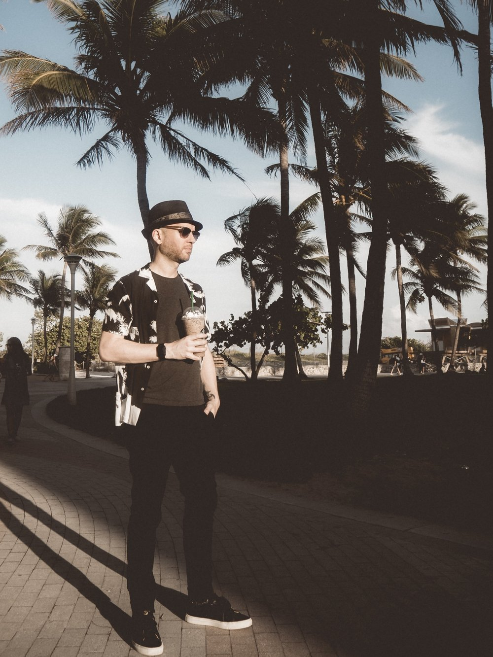 Jay McLaughlin Miami South Beach USA Palm Trees Summer Davidoff Cool Water Wave Review Starbucks Chocolate Frappacino Hat Monochrome Menswear
