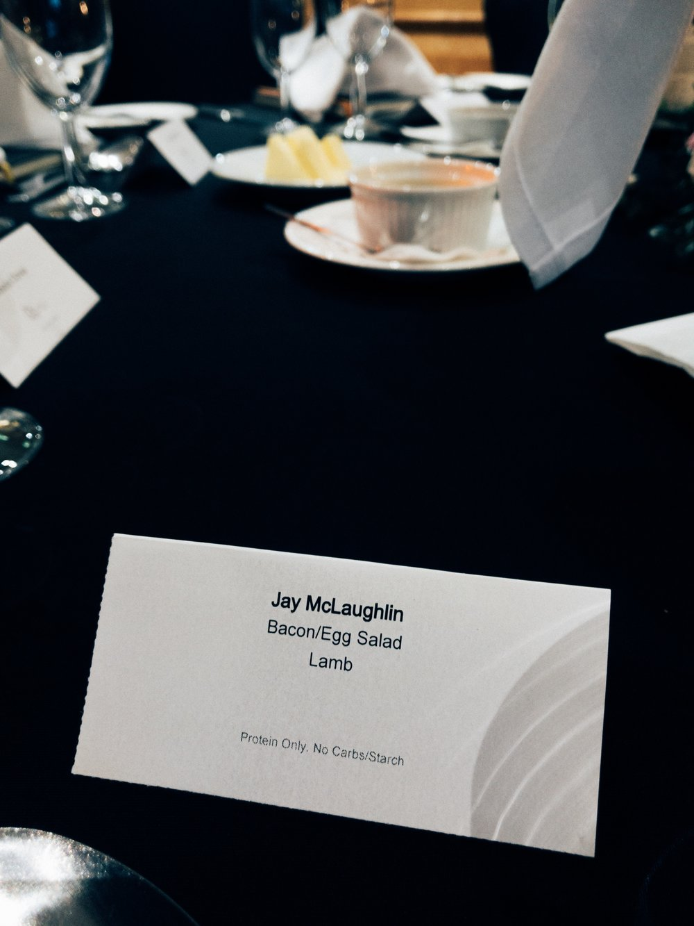 People's reactions to the carnivore diet Jessops Conference Gala Dinner Zero Carb Protein Only No Carbs Starch Lamb Bacon Egg Salad Jay McLaughlin Name Card