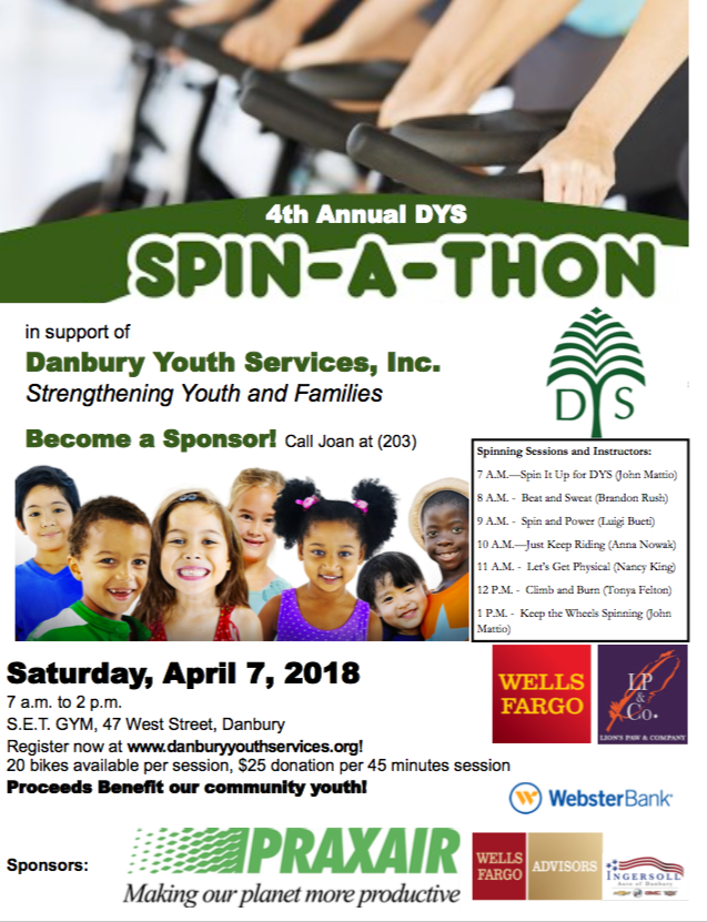 Please Join Us! - Thanks to our friends at S.E.T. Gym, we will once again be hosting our annual Spin-a-Thon fundraiser on Saturday, April 7th, 7 A.M. - 2 P.M.!Join us for one hour, or seven! Spin along to the music and empowering words of instructors John Mattio, Tonya Felton, Brandon Rush, Luigi Bueti, Nancy King, and Anna Nowak during one-hour themed intervals.We'll provide you with healthy snacks, water and loads of encouragement while you help provide DYS with funding for our programs that bring out the best in area youth!A minimum donation of $25 is required to participate. Additional donations are welcome!