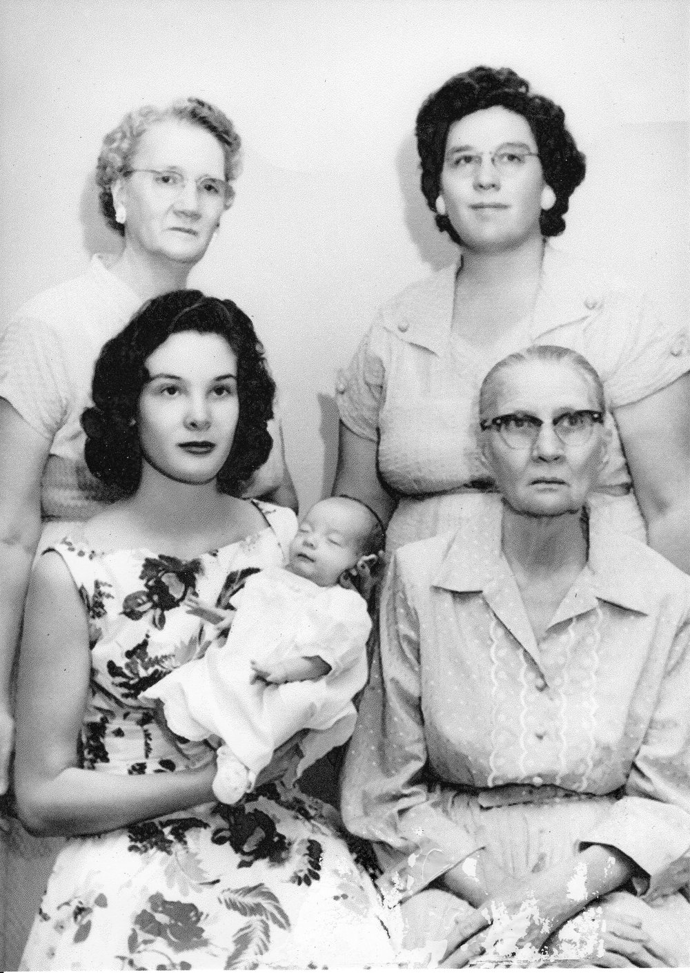 Five generations of Rebecca Kaye's family in 1957...