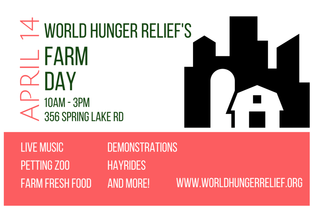 Farm Day 2018 - You're invited to celebrate Farm Day with the Waco community and World Hunger Relief, Inc. on April 14, 2018! Come out to the Farm from 10 am – 3 pm to enjoy tours, hayrides, a petting zoo, children's activities, teaching demonstrations, and live music all FREE. Farm fresh lunches will be available for purchase 11-2pm.