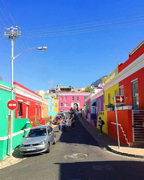 Colorful houses line the streets in this photogenic neighborhood