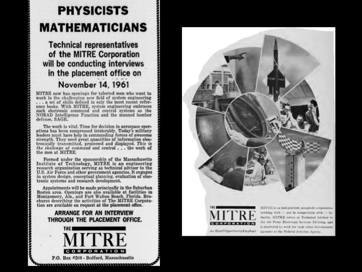 MITRE adverts from MIT's  The Tech  and  The Technology Review.