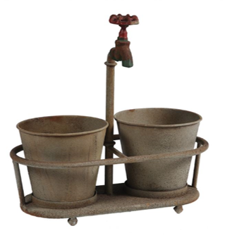 Metal Planter w/ Faucet $18.95
