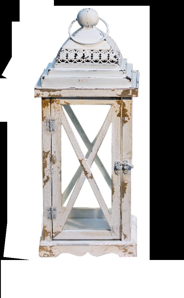 Lg White Wood Metal Lantern $103.98