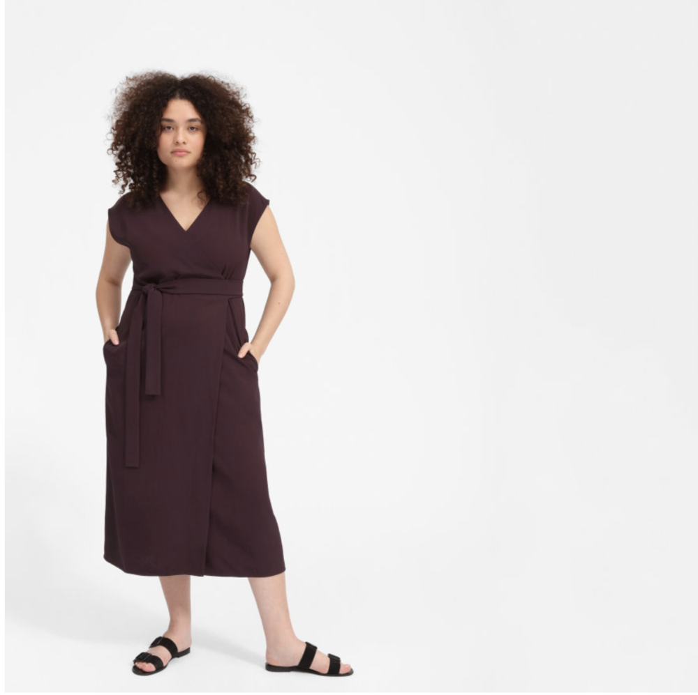 Everlane Japanese GoWeave Short-Sleeve Wrap Dress - Plum