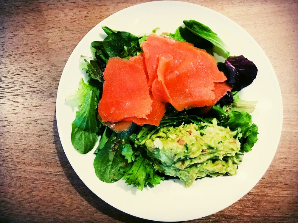 Smoked Salmon Salad with Guacamole and Herbed Vinaigrette for breakfast?  Well, why not???