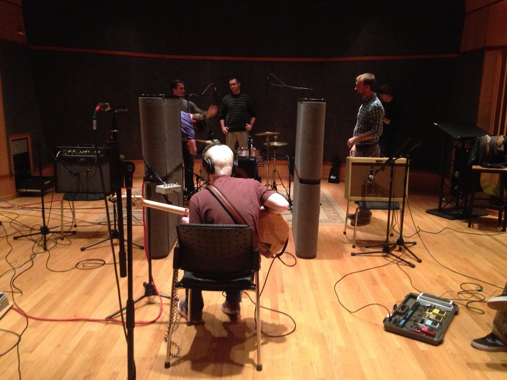 P-Zap in the studio at UML, 2015 with recording engineers Cameron Parmenter, Sean Patterson, Karl Fleck and Ethan King.