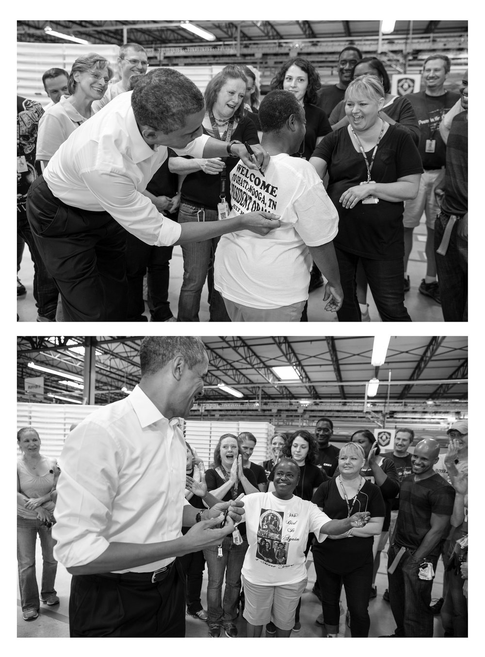 President Barack Obama signs a line worker's shirt after touring the Amazon fulfillment center in Chattanooga, Tenn., 2013.