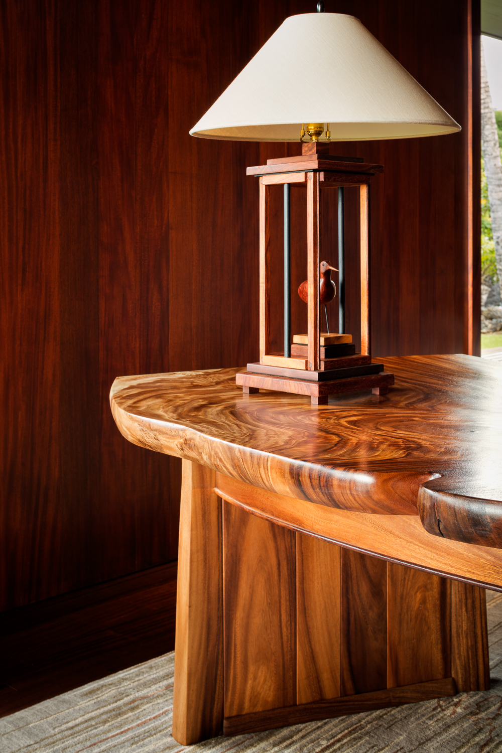 Custom Koa Desk photographed for Rhoady Lee Architecture + Design, by Ethan Tweedie Photography based in Austin Texas and Hawaii