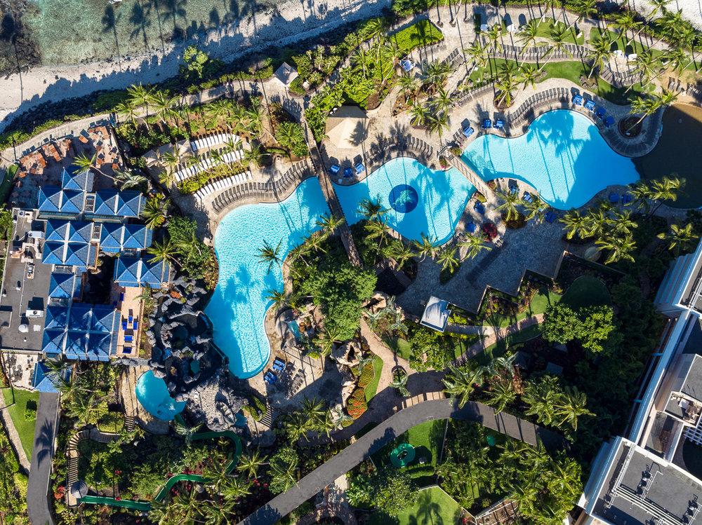 Hilton Waikoloa Village Pool Aerial
