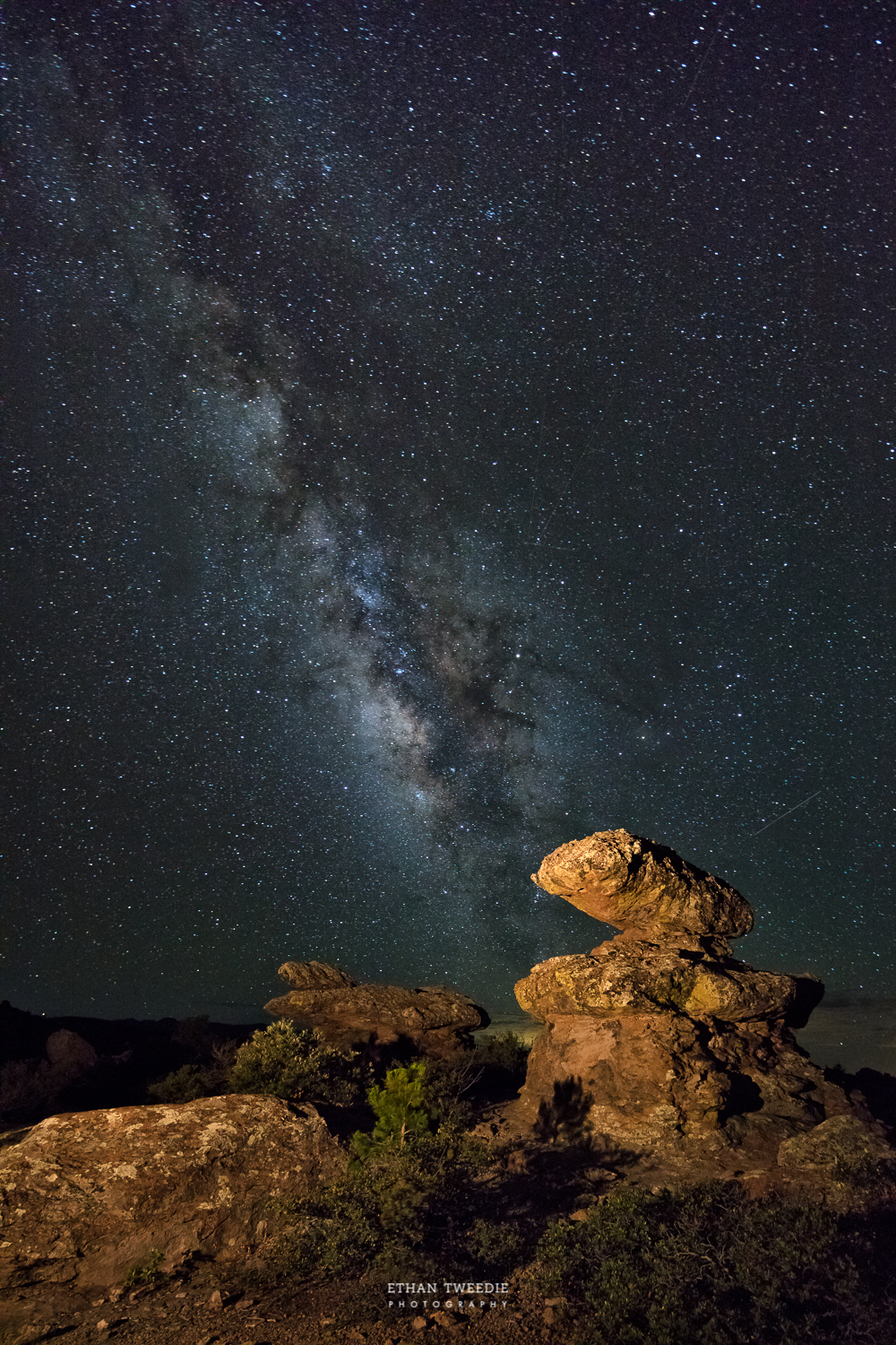 During my scouting hike I found this rock feature relatively close to the parking lot, made for a nice foreground with the Milky Way.  I used my Lowel GL-1 LED Tungsten Color Temp light to mimic the non existent moonlight.