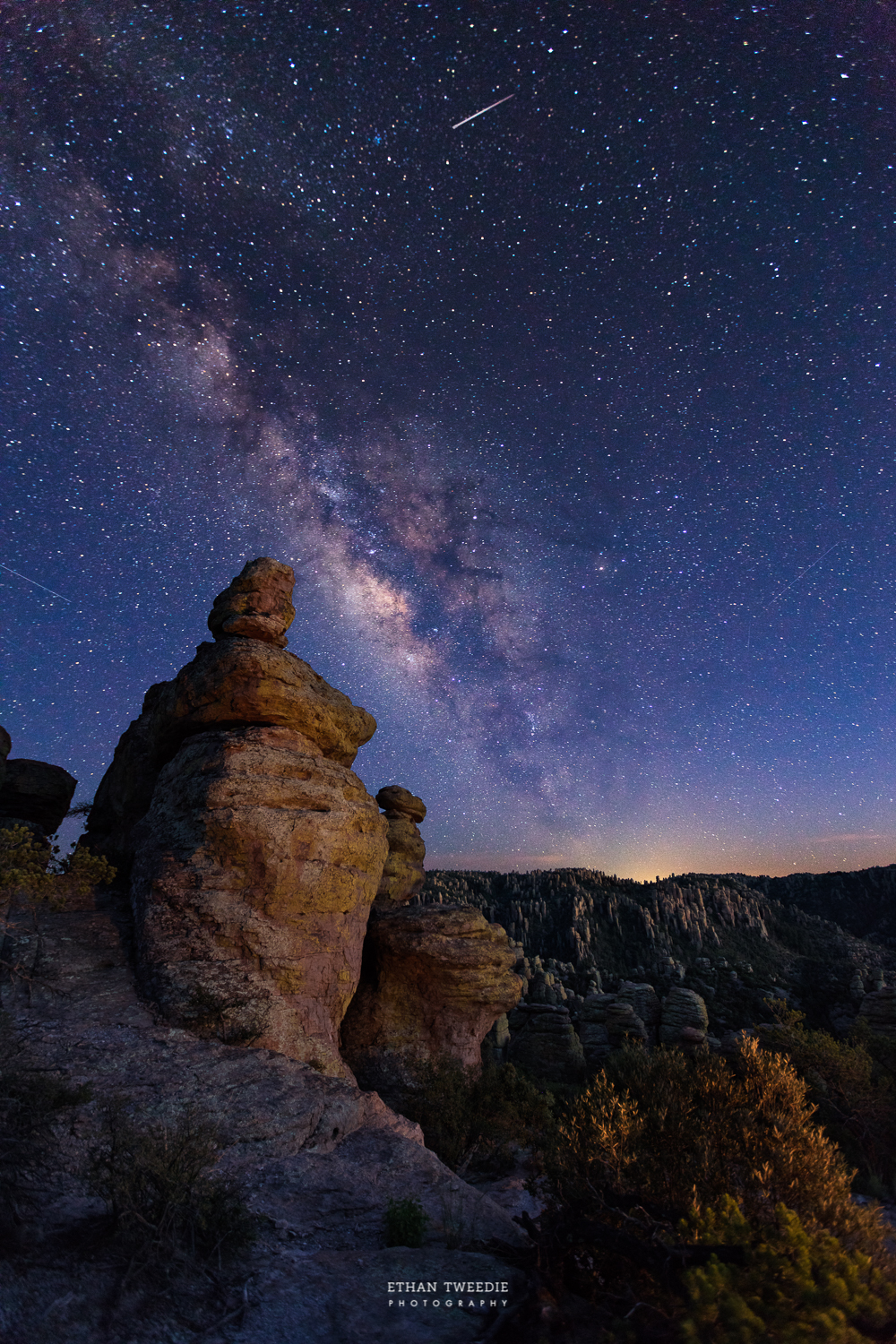 My favorite image from my trip.  Twilight light still lighting up Chiricahua National Monument , the Milky Way and a few shooting stars during the Perseids Meteor Shower!
