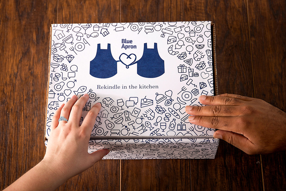 Each month Blue Apron sends out a Date Night meal that couples prepare and eat together.