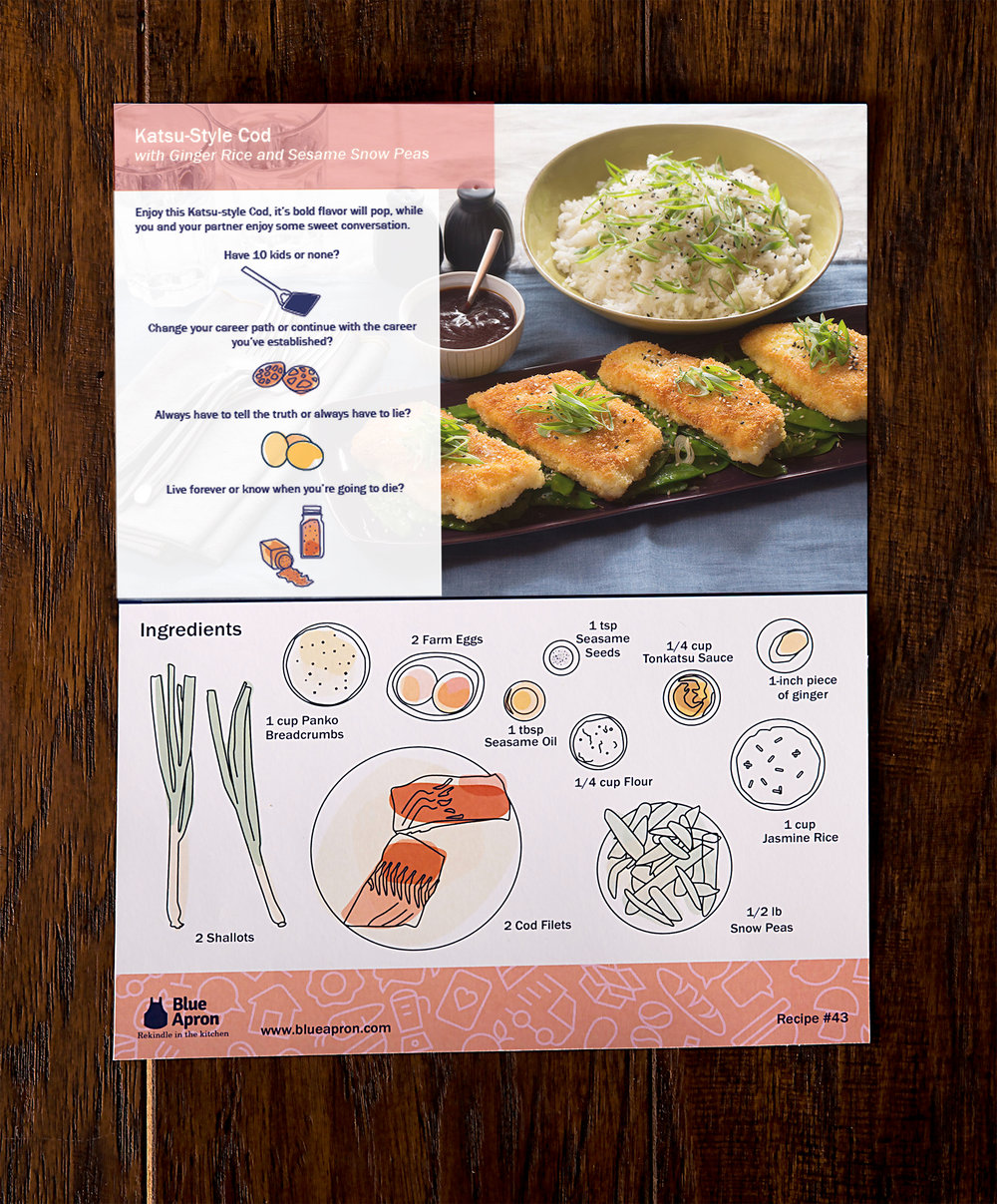 The recipe card includes conversation starters and simple instructions so the couple can connect while cooking.