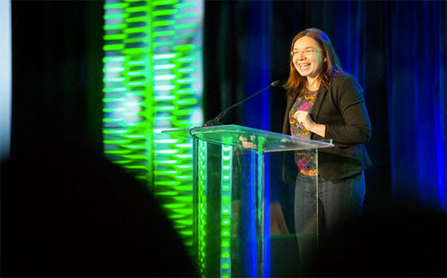 Katharine Hayhoe  talks climate communication hacks at the Natural Products Expo West Convention | Photo courtesy of Climate Collaborative