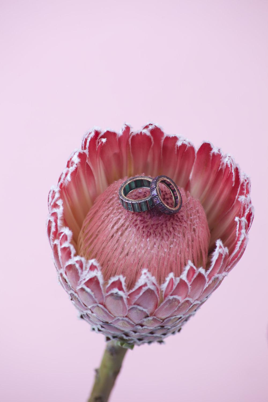 NAK ARMSTRONG Emerald Baguette Mosaic Ring  NAK ARMSTRONG Ruby Mosaic Ring