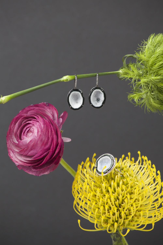 KIMBERLY McDONALD 18k White Gold, Diamond & Geode Earrings  KIMBERLY McDONALD 18k White Gold, Diamond & Geode Ring