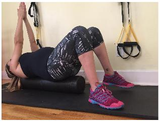 IMAGE: Lying Supine on FOAM ROLLER: CBBP with Alternating Leg Lifts.  This exercise is more balance challenging than lying on the floor.