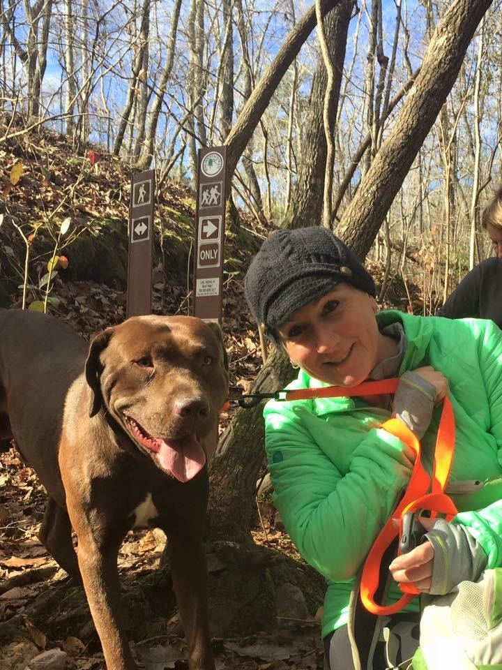 Woman and Dog Hiking