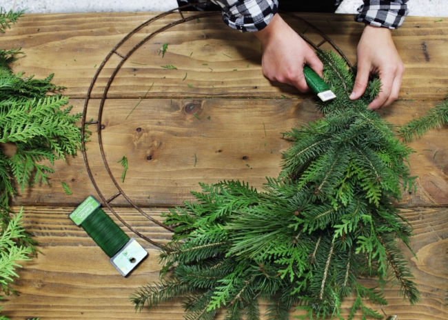 wreath making in action