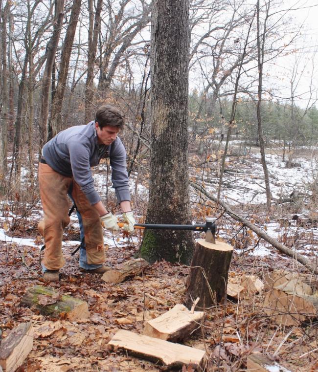 splitting wood for the winter