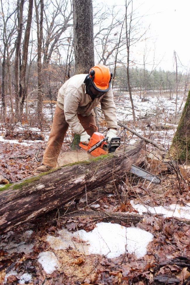 chopping wood at the farm