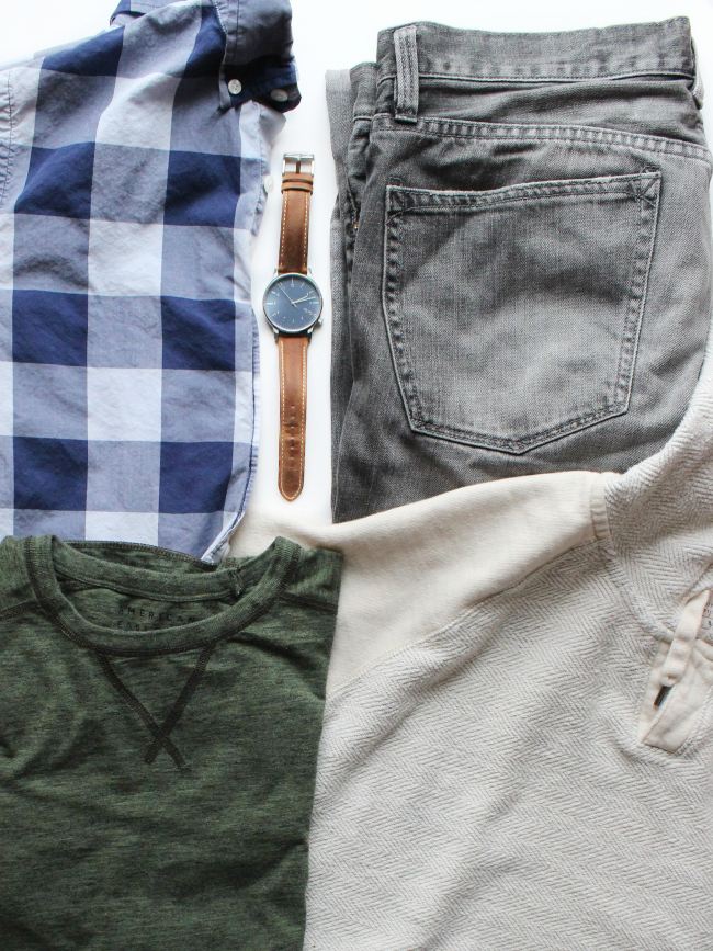what Kyle's bringing: soft tees, preppy plaid shirts & cozy sweatshirt