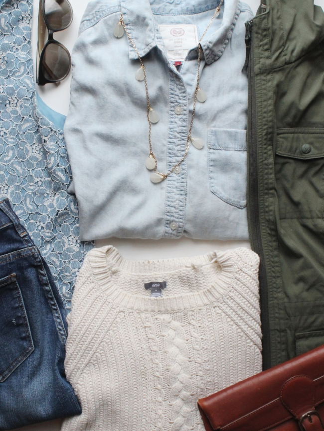 what Lauren's bringing: cozy sweaters, lacy tanks & a chic rain coat!