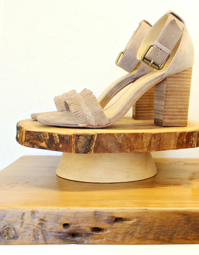Rustic Modern shoe display at Twigs at Hilldale in Madison, WI