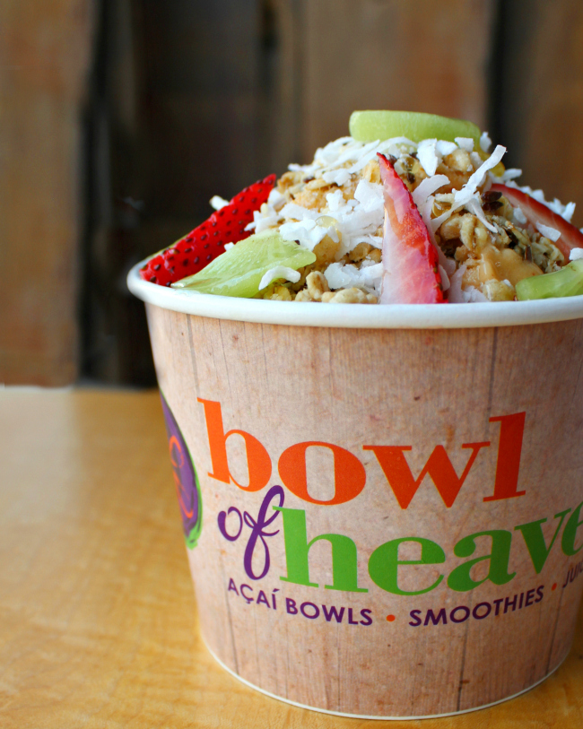 Healthy & Delicious Sunset Acai Bowl at Bowl of Heaven at Hilldale in Madison, WI