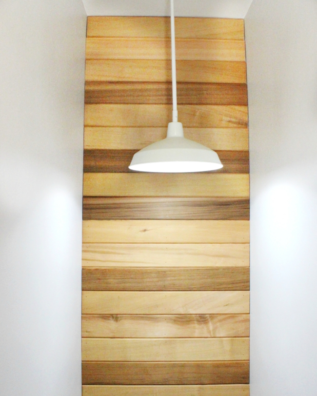 basement lighting with rustic cedar wall