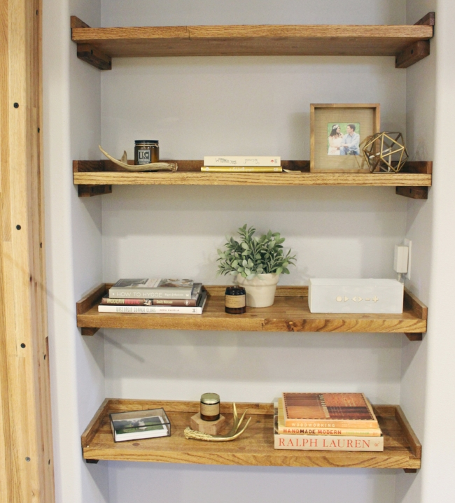 reclaimed wood bookshelf built in | rustic modern basement renovation