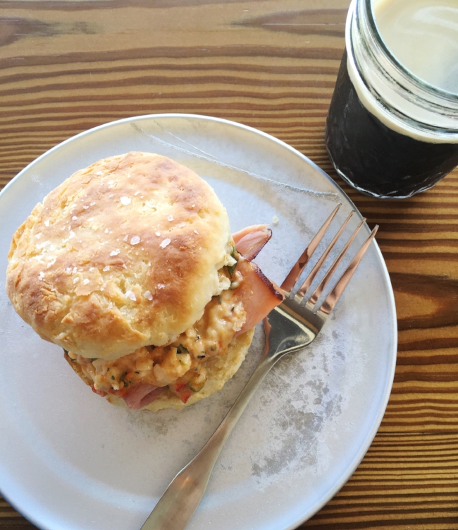 pimento cheese and ham biscuit | southern style at Buttermilk Handcrafted Food